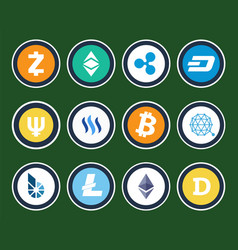 modern cryptocurrency signs inside circles set vector image