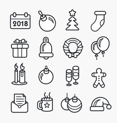 new year linear christmas icon set 2018 vector image vector image