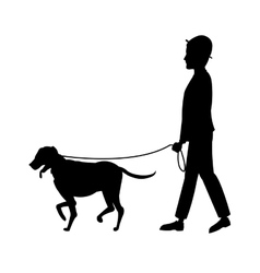 silhouette man and dog walking vector image