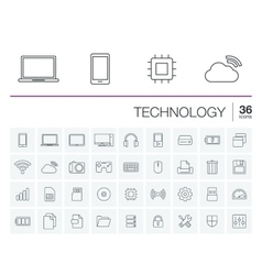 Digital technology icons vector image vector image