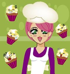 manga girl chef 3 vector image vector image