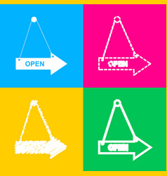 open sign four styles of icon on vector image vector image