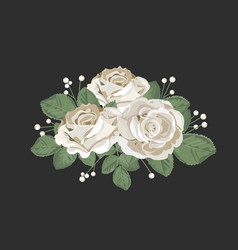 retro bouquet design white roses with leaves and vector image vector image