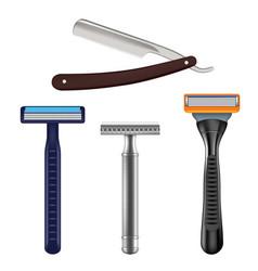 shaving razor mockup set realistic vector image