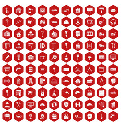 100 construction icons hexagon red vector