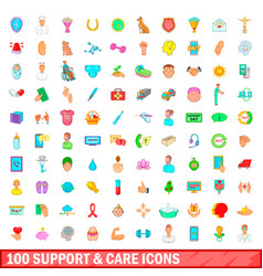 100 support and care icons set cartoon style vector