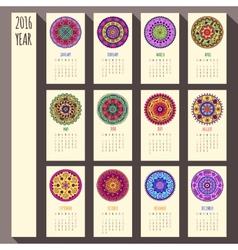 2016 year ethnic calendar design English Sunday vector