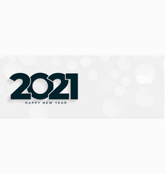 2021 happy new year white banner with text space vector