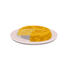 Appetizing tortilla on plate popular dish of vector