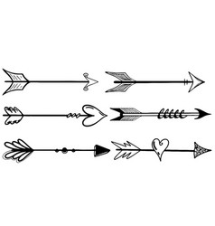 arrow set hand drawn in black on white background vector image