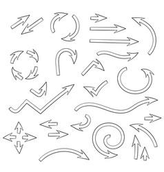 arrows set set doodle icons outline signs vector image