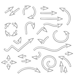 arrows set set of doodle icons outline signs vector image