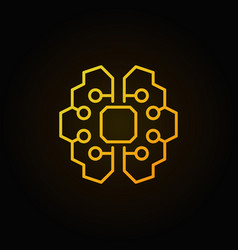 Artificial intelligence brain golden icon vector