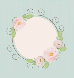 beautiful pink english roses wreath frame on blue vector image