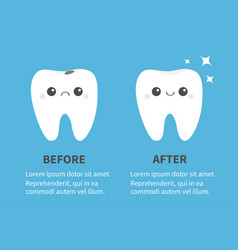 Before after infographic template tooth icon set vector