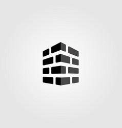 bricks logo monochrome design label vector image