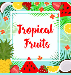 Card with tropical fruit vector