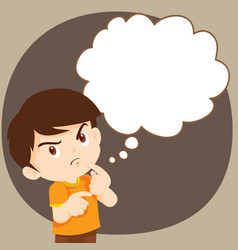 Children boy thinking actions vector