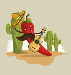 chili pepper mexican character vector image