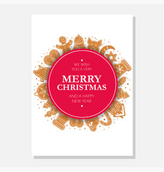 christmas gingerbread cookies card merry christmas vector image
