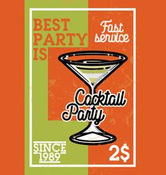 Color vintage coctail party banner vector