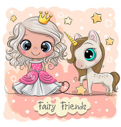 cute cartoon fairy tale princess and unicorn vector image