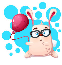 Cute funny rabbit rhino with balloon vector