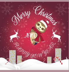cute sloth peeps out christmas card vector image
