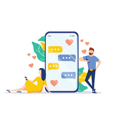 dating app - flat design style colorful vector image