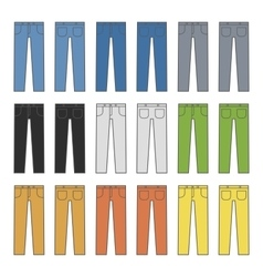 Denim Jeans Different Colors Set vector
