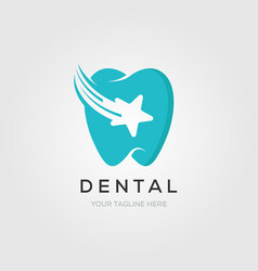 dental clinic logo tooth with star and clean vector image