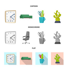 design furniture and work icon set of vector image