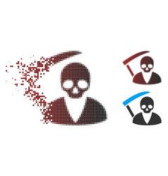 Dissolving pixel halftone scytheman icon vector