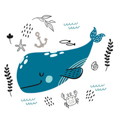 doodle blue whale underwater life pattern vector image
