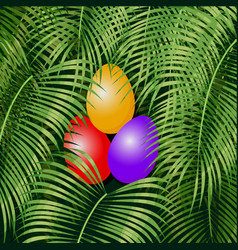 Easter eggs on the green vector