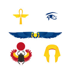 egypt symbols - winged sun ankh crown scarab vector image