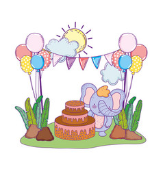 elephant with cake and balloons helium in the vector image