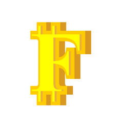 f letter bitcoin font cryptocurrency alphabet vector image