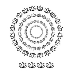 flower brushs patterns in a circle line black vector image