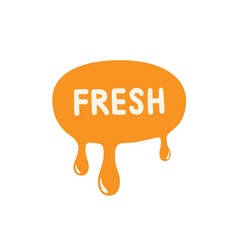 Fresh icon orange paint dripping vector