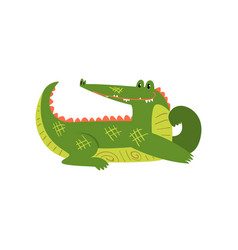 friendly crocodile lying on the floor funny vector image