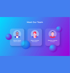 Glassmorphism our team concept with 3d geometric vector