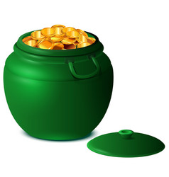 Good luck st patricks day big green pot gold vector