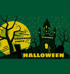 halloween background with semetery and sceleton vector image