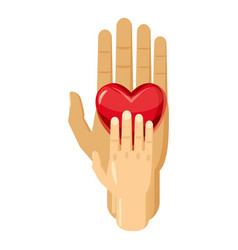Hand of adult and kid with red heart icon vector