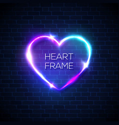heart neon realistic sign on brick wall background vector image