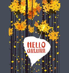 hello autumn lettering on an autumn leaf fall vector image