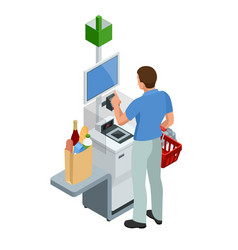 Isometric self-service cashier or terminal young vector