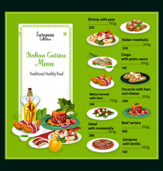 Italian cuisine dishes traditional meal menu vector