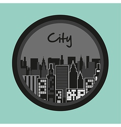 Label of buildings on turquoise background vector